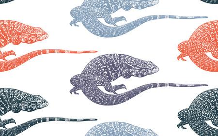 Lézards. Modèle sans couture. Illustration vectorielle de reptile rouge et bleu. Dessin réaliste à la main. Gravure d'époque.
