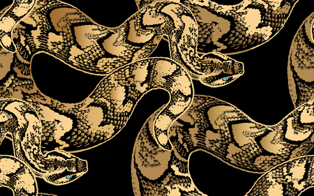 Snakes. Beast seamless pattern. Gold foil print on black background. Vector illustration. Hand realistic drawing of reptile. Vintage engraving.