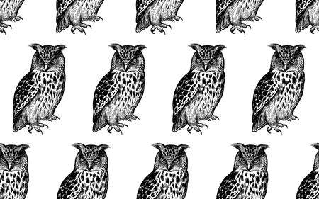 Nahtloses Muster mit Eulen. Realistische Vögel. Vektor-Illustration. Raubvögel des Waldes. Skizzieren Sie Handzeichnung. Schwarz und weiß. Jahrgang. Vorlage für die Gestaltung von Textilien, Papier, Tapeten.