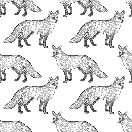 Fox. Seamless pattern with forest animals. Hand drawing of wildlife. Vector illustration art. Black and white. Old engraving. Vintage. Design for fabrics, paper, textiles, fashion.