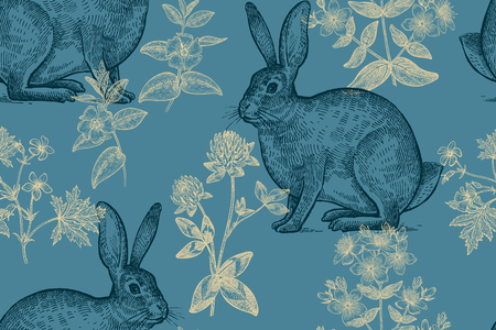 Forest animals and plants seamless pattern. Hares and flowers of clover, geranium, St. Johns wort, periwinkle. Hand drawing. Gold, blue and black. Vintage engraving. Vector illustration background.  イラスト・ベクター素材