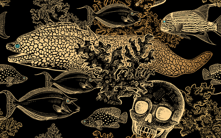 Underwater world. Seamless pattern kitchen design. Coral decorative fish, corals and human skull. Illustration of seabed. Ocean floor. Vector. Vintage engraving. Black & gold foil. Hand drawing Sketch Illustration