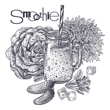 Smoothies. Healthy diet food. Vegetables, lettuce, spinach and cucumbers for preparation of beverage. Black and white. Hand drawing. Vintage engraving. Vector illustration art for menus and recipes Stok Fotoğraf - 122825641