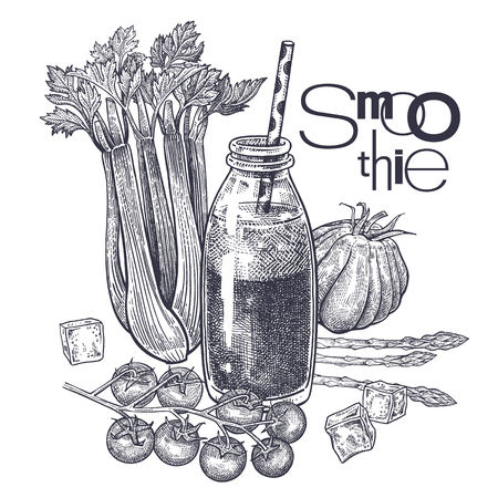 Smoothies. Healthy diet food. Vegetables, tomatoes, asparagus and celery for preparation of beverage. Black and white. Hand drawing. Vintage engraving. Vector illustration for menus and recipes Archivio Fotografico - 122825642