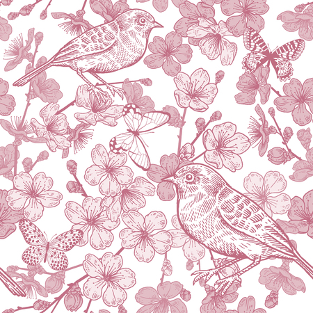 Seamless pattern with Japanese cherry, bird and butterflies. Illustration of spring nature. Vector sketch. Red and white. Vintage.