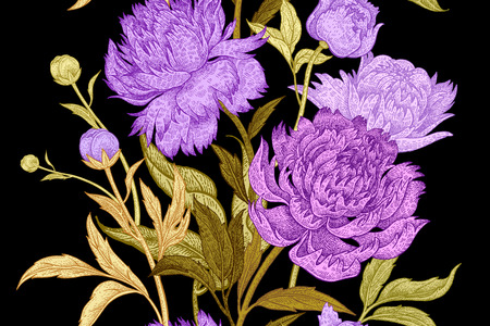 Peonies seamless floral pattern. Hand drawing art. Black, gold, purple, green vector illustration. Oriental style vintage flowers. Fabric, paper, textiles, wallpaper, curtains, wrapping, phone case Vettoriali