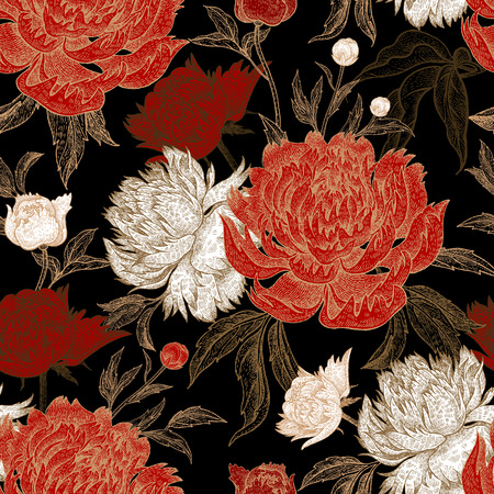 Peonies seamless floral pattern. Hand drawing art. Black, white, gold and red vector illustration. Oriental style. Vintage flowers. For creating fabric, paper, textiles, wallpaper, curtains, wrapping