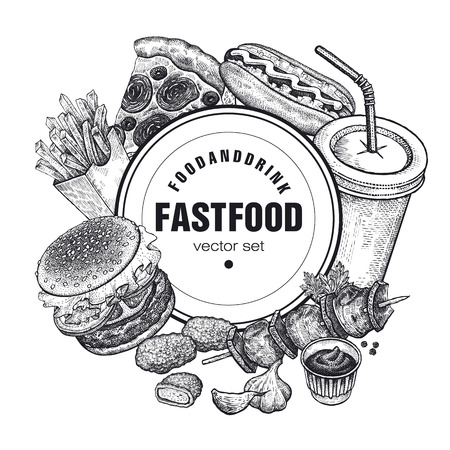 Hand drawing of fast food and place for inscriptions. Set of food and drink on white background. Design for fast-food restaurants, cafes, menus and advertising posters. Vector illustration vintage art