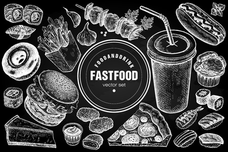 Fast food and drink set. Burger, fries, pizza, sushi, nuggets, kebabs, hot dog, muffin, cheesecake, donut isolated. For fast food cafe, menu. Vector illustration. Vintage. White chalk on black board.
