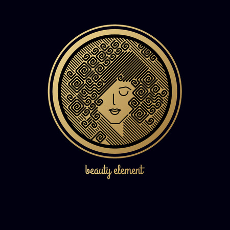 Face of pretty girl with stylish hairstyle. Womans head in circle. Elements of design of cosmetic products  . Print with gold foil on a black background. Vector illustration. Modern linear style.