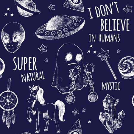 Seamless black and white pattern. Flying saucer, alien, ghost, unicorn, Dreamcatcher, a crystal ball, magic wand, Illuminati, girl. Vector illustration. Mystery, unusual, supernatural.