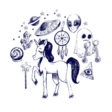 Mystical supernatural symbol unicorn, ghost, flying saucer, alien. Picture for printed on T-shirts, bags, backpacks, childrens clothes, phone case. Black and white sketch. Vector illustration set.