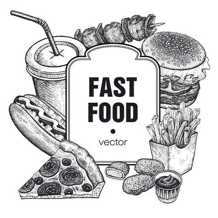 Disegno a mano di fast food e posto per le iscrizioni. Set di cibi e bevande su sfondo bianco. Design per fast-food, caffè, menu e manifesti pubblicitari. Illustrazione vettoriale vintage art