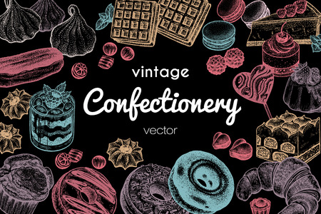 Frame made of sweets and desserts with space for text. Hand drawing pastel chalk on blackboard. Vintage engraving art illustration. Vector sketch. Food design. Signboard  for confectionery or bakery. Illustration