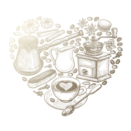 Delicious coffee heart. Cup of coffee, grinder, milk jug, coffee beans, Turkish ibrik, eclairs, cookies gold foil on white background. Vector illustration art set. Vintage engraving. Luxury design Illustration