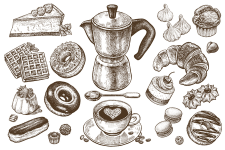 Coffee and desserts vector set illustration. Food elements isolated on white background. Coffee pot, cup and spoon. Cakes, cookies, muffins, donuts, pastries, candy in style of vintage engraving.