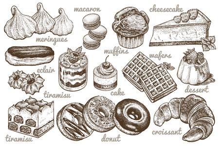 Desserts eingestellt. Vektor-Illustration. Kuchen, Kekse, Backen, Kekse, Gebäck, Eclair, Muffin, Käsekuchen, Waffeln, Donuts, Croissant, Baiser-Handzeichnung auf weißem Hintergrund. Essen im Vintage-Stil Vektorgrafik