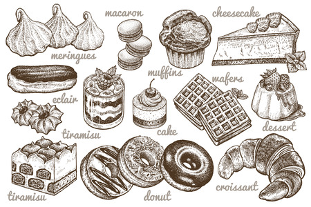 Desserts set. Vector illustration. Cakes, biscuits, baking, cookies, pastries, eclair, muffin, cheese cake, waffles, donuts, croissant, meringue hand drawing on white  background. Food vintage style Illustration