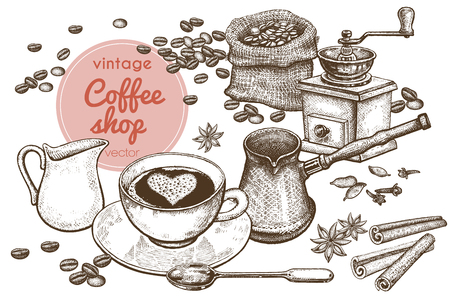 """Illustrazione del disegno a mano """"Tempo del caffè"""". Ibrik turco, macinacaffè, tazza, cucchiaio da dessert, borsa di tela con chicchi di caffè, spezie cannella e anice stellato isolati su sfondo bianco. Arte d'epoca."""