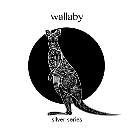 Decoración canguro. Lámina de plata con estampado animal australiano sobre fondo negro. Arte de ilustración vectorial. Imagen lineal. Motivos de flores, hojas, geometría. En blanco y negro.