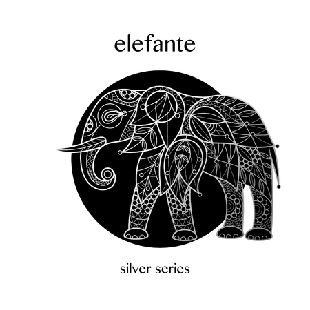 Elephant decoration. African animal print silver foil on a black background. Vector illustration art. Linear image. Motifs of flowers, leaves, geometry. Black and white.