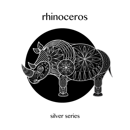 Rhinoceros decoration. African animal print silver foil on a black background. Vector illustration art. Linear image. Motifs of flowers, leaves, geometry. Black and white. Ilustração