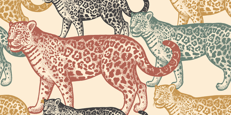 Seamless pattern with animals South America Jaguar. Hand drawing of wildlife. Vector illustration art. Black, white, green, blue and red color. Vintage. Design for fabrics, paper, textiles, fashion.