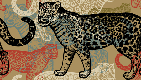 Seamless vector pattern. Black and red jaguars on gold background. Hand drawing of animals. Vintage style engraving. Illustration for creating fabrics, paper, wallpaper, textiles, interior, curtains. Illustration