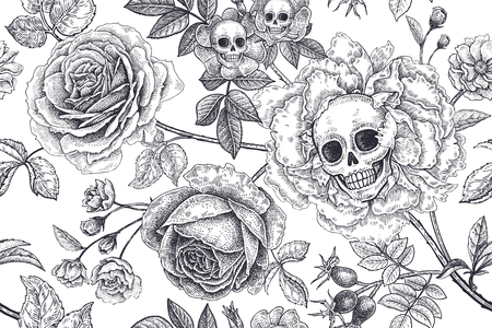 Floral seamless pattern. Skulls, blooming rose flowers and foliage. Vector illustration with symbols of day dead. Vintage. Black and white. Template of paper, textiles, wallpaper