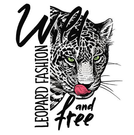 """Hocico de primer plano de leopardo, cráneo e inscripción """"Salvaje y libre"""". Plantilla para imprimir en camisetas, carteles, tarjetas. Color negro, blanco y rojo. Boceto realista. Estilo bestia. Ilustración de vector"""
