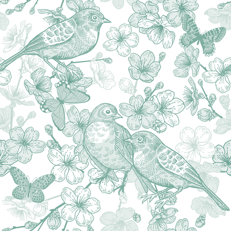 Seamless pattern with Japanese cherry, bird and butterflies. Illustration of spring nature. Vector sketch. Green and white. Vintage.