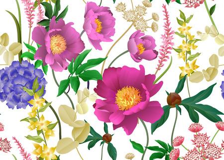 Fiori da giardino. Motivo floreale senza soluzione di continuità. Peonie, ortensie, rami di eucalipto, fogliame, erbe aromatiche. Illustrazione vettoriale per l'industria della moda, carta, carta da parati. Sfondo vintage vittoriano