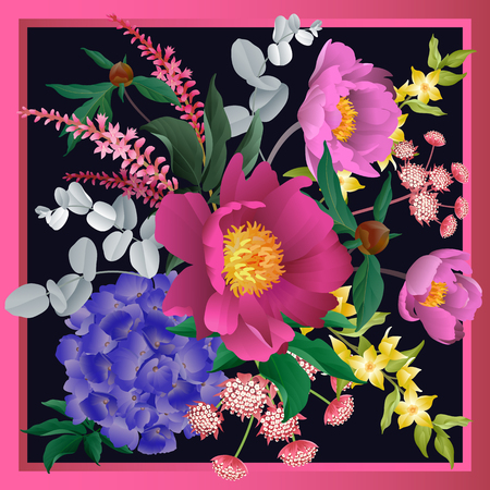 Garden flowers in frame decoration. Scarf or pillow for interior. Floral pattern. Bouquet of peonies, hydrangeas, eucalyptus branches, foliage, herbs on black background. Vector illustration. Vintage.