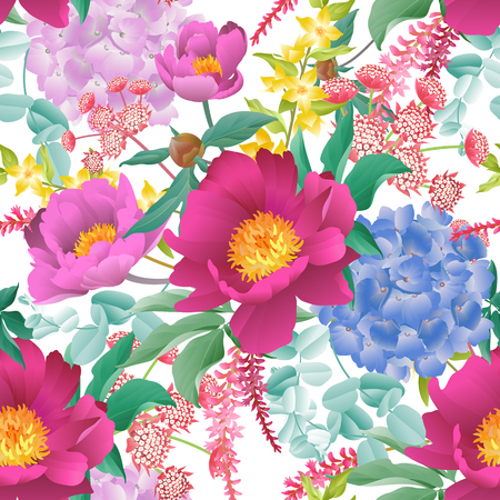 Garden flowers. Floral seamless pattern. Peonies, hydrangeas, Eucalyptus branches, foliage and herbs. Vector illustration for fashion industry,  paper, wallpaper. Victorian style. Vintage background. Illustration