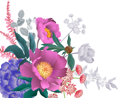 Bouquet peonies, hydrangeas, eucalyptus branches, foliage, herbs, white background. Floral pattern and space for text. Flowers decoration business card design. Vector illustration. Vintage. Victorian.