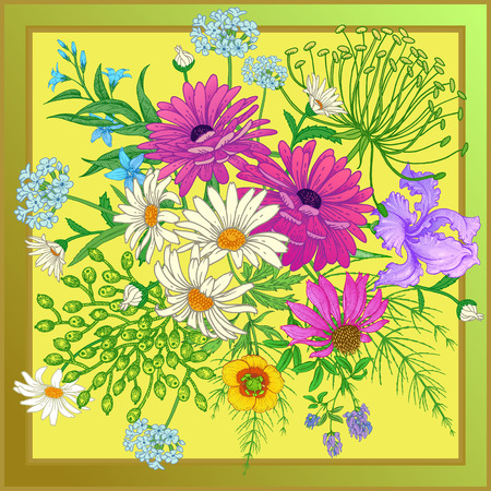 Decoration with wildflowers in frame. Scarf or pillow for the interior. Flower pattern. Bouquet of chamomile, iris, aster, herbs and berries on yellow background. Vector floral illustration. Vintage Ilustracja