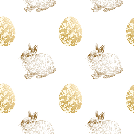 Seamless pattern. Realistic cute Easter bunnies, eggs with marble texture. Gold foil on white background. Vector illustration. Symbol of religious event. Vintage. Design for textile, paper, wallpaper