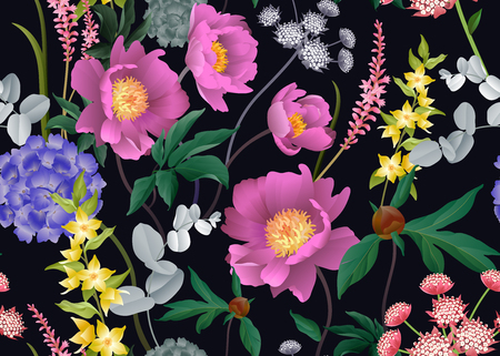 Garden flowers. Floral seamless pattern. Peonies, hydrangeas, Eucalyptus branches, foliage, herbs. Vector illustration for fashion industry,  paper, wallpaper. Victorian Vintage background