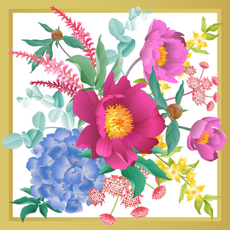 Garden flowers in frame decoration. Scarf or pillow for interior. Floral pattern. Bouquet of peonies, hydrangeas, eucalyptus branches, foliage, herbs on white background. Vector illustration. Vintage. Illustration