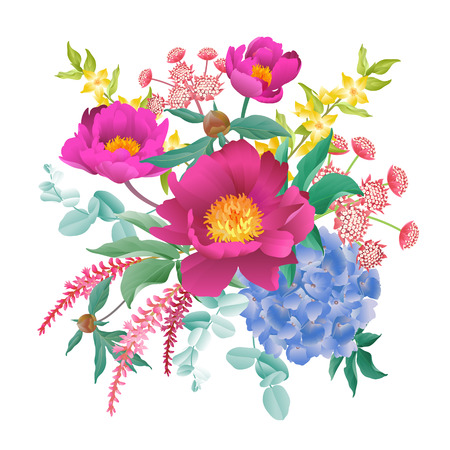 Garden flowers decoration. Bouquet peonies, hydrangeas, eucalyptus branches, foliage, herbs on white background. Floral pattern. Card design, fashion industry. Vector illustration. Vintage. Victorian.