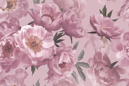 Seamless pattern. Beautiful garden flowers peonies in bloom. Floristic decoration. Floral background. Pastel colors. Template for paper, wallpaper, textiles.