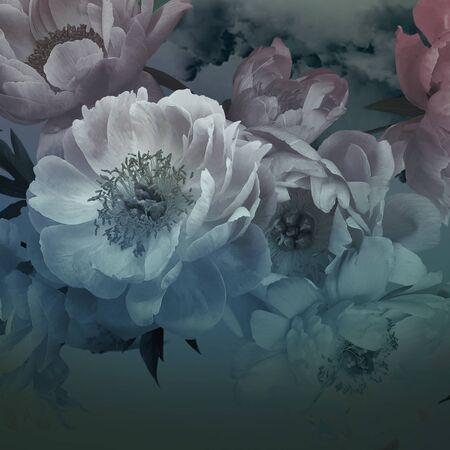 Peonies flowers close-up. Vintage floral card.  Imagens