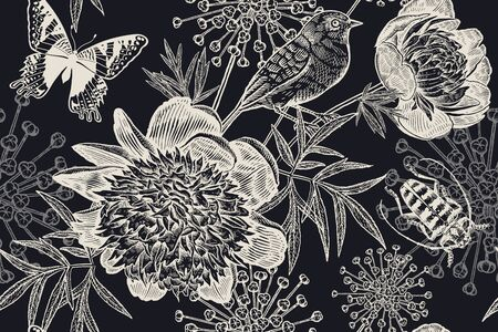 Black and white floral pattern for creating textiles, wallpaper, paper. Seamless background with garden flowers peonies, bird, beetle and butterflies. Vintage. Vector Illustration.  Old sketch style.