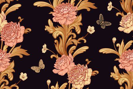 Garden flowers peonies, openwork butterflies and baroque decor elements. Gold on a black background. Seamless vector pattern. Vintage.