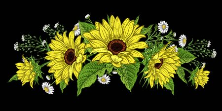 Flower garland. Sunflowers and wild flowers. Isolated autumn flowers and leaves. Floral pattern. Decorative vector illustration. Vintage. Hand realistic drawing.