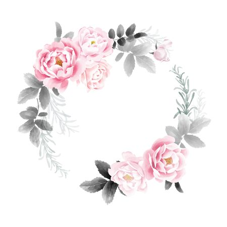 A wreath of garden roses. Watercolor illustration Flowers and leaves. Pink and black on a white background. Flower decoration. Template for wedding and greeting cards.