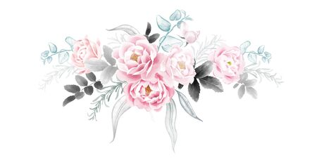 Garland of garden roses. Watercolor illustration Flowers and leaves. Pink and black on a white background. Flower decoration. Template for wedding and greeting cards. Imagens