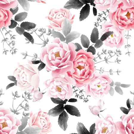 Watercolor seamless pattern. Pink garden flowers and leaves. Roses and herbs on a white background. Template for creating textiles, paper, wallpaper, covers Reklamní fotografie