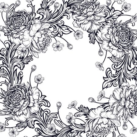 Border of luxurious garden flowers peonies and baroque style ornament details. Vector illustration. Vintage decoration. Black and white. Pattern for creating festive decor, weddings, celebrations. Ilustração