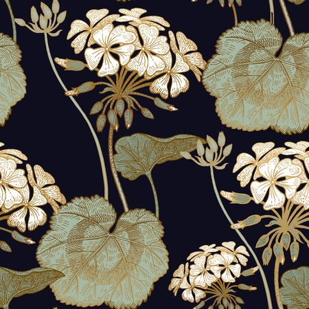 Decoration with flower geranium. Seamless floral pattern. Green foliage, white flowers on black background. Vintage vector illustration. Hand drawing. Template for textile, paper, cloth